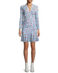 Veronica Beard - Blue Rowe Bracelet-sleeve Ruched Asymmetric-placket Floral-print Silk Dress - Lyst