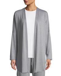 Natori - Gray Zen French Terry Lounge Cardigan - Lyst