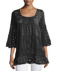 Johnny Was - White Bell-sleeve Eyelet Tiered Tunic - Lyst