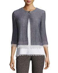 St. John - Black Lace-trim Textural Grid Knit Jacket - Lyst