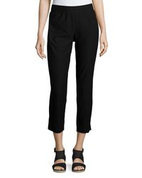 Eileen Fisher - Black Washable Stretch Crepe Cropped Pants - Lyst