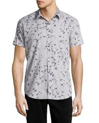 Theory - Gray Zack S. Leaflet Linen-cotton Short-sleeve Shirt for Men - Lyst