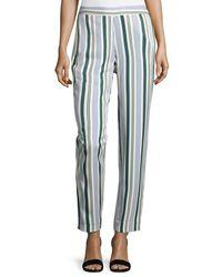 Tory Burch - Blue Villa Striped Straight-leg Pants - Lyst
