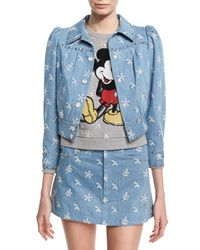 Marc Jacobs - Blue Broderie Anglaise Shrunken Denim Jacket - Lyst