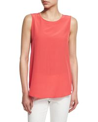 Peserico - Red Sleeveless Silk Top - Lyst