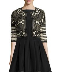 Lela Rose - Black Ribbon-embroidered Cropped Jacket - Lyst