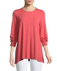 Eileen Fisher - Pink Long-sleeve Jersey Round-neck Top - Lyst