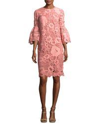 Lela Rose | Pink Lace Flounce-sleeve Tunic Dress | Lyst