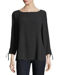 Eileen Fisher - Black Silk Georgette Tie-sleeve Top - Lyst