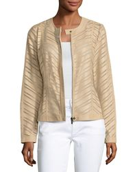 Neiman Marcus - Natural Striped Leather Jacket - Lyst