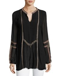 Tolani - Black Lani Long-sleeve Tunic W/ Contrast Embroidery - Lyst