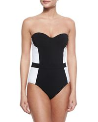 Tory Burch - Black Lipsi Two-tone One-piece Swimsuit - Lyst