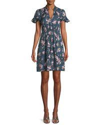 Rebecca Taylor - Blue Emilia Floral-print Silk Mini Dress - Lyst