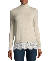 Joie - Natural Fredrika Wool-blend Turtleneck Sweater W/ Lace Hem - Lyst