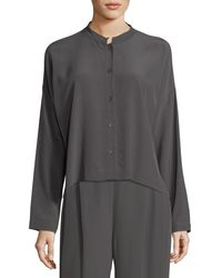 Eileen Fisher - Gray Long-sleeve Mandarin-collar Crinkle Crepe Box Top - Lyst