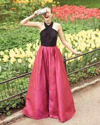 Carmen Marc Valvo - Multicolor Sleeveless Beaded Jersey & Taffeta Ball Gown - Lyst