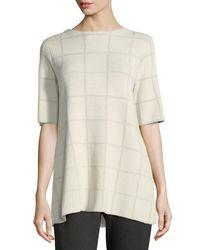 Eileen Fisher - Black Short-sleeve Fine Windowpane Crepe Tunic - Lyst
