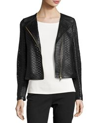 ESCADA - Black Perforated Leather Moto Jacket - Lyst