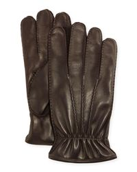 Portolano Brown 3-point Napa Leather Gloves W/cashmere Lining for men