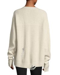 Helmut Lang White Distressed V-neck Oversized Wool-cashmere Sweater