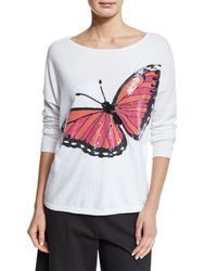 Joan Vass | Multicolor Long-sleeve Sequined Butterfly Sweater | Lyst