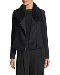 Vince - Black Zip-front Scuba Coat W/ Shearling Fur Collar - Lyst