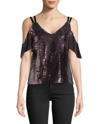 5528e5eeba31c1 Lyst - Nanette Lepore Cold-shoulder Sparkle Sequin Top in Pink