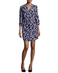 Kate Spade - Blue Spinner Drawstring Silk Shirtdress - Lyst