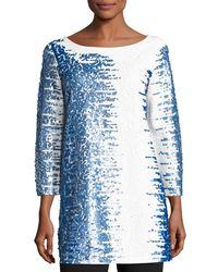 Joan Vass - White 3/4-sleeve Gradient Sequined Tunic - Lyst