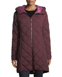 Save The Duck - Purple Angy Diamond-quilted Zip-front Puffer Coat - Lyst