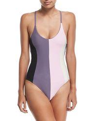 Pilyq - Purple Farrah Colorblock One-piece Swimsuit - Lyst
