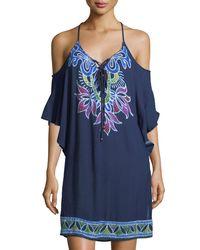 Trina Turk - Blue Lotus Batik Cold-shoulder Crinkled Gauze Coverup Dress - Lyst