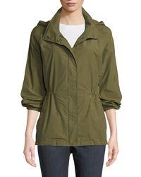 Eileen Fisher - Green Organic Cotton-nylon Utility Jacket With Hidden Hood - Lyst