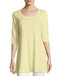 Eileen Fisher - Multicolor Half-sleeve Linen Jersey Layering Tunic - Lyst