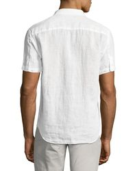 Theory - White Clark Instrumental Linen Short-sleeve Shirt for Men - Lyst