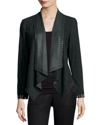 Neiman Marcus - Green Draped Suede Jacket W/ Laser-cut Border - Lyst