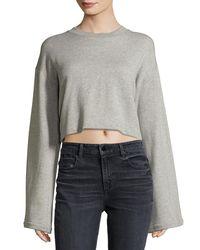 T By Alexander Wang - Gray Tie-back Long-sleeve Sweatshirt - Lyst