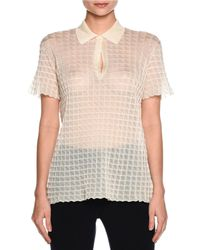 Giorgio Armani - White Sheer Windowpane Polo Shirt - Lyst