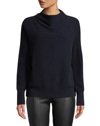Vince - Blue Cashmere Funnel-neck Pullover Sweater - Lyst