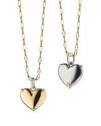 Monica Rich Kosann - Metallic Two-tone Heart Of Gold Charm Necklace - Lyst
