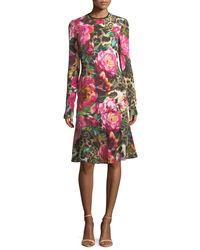 Naeem Khan - Multicolor Long-sleeve Floral & Leopard Print Dress - Lyst