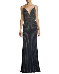 Jovani - Blue Stripe Plunging Sleeveless Embellished Evening Gown - Lyst