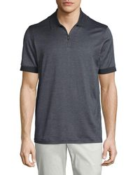 Brioni - Gray Micro-grid Jacquard Quarter-zip Polo Shirt for Men - Lyst