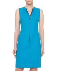 Akris | Blue Reversible Sleeveless Zip-front Sheath Dress | Lyst