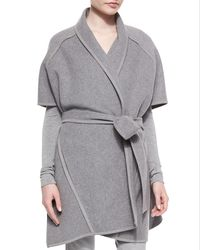 Donna Karan - Gray Double-faced Cashmere Belted Coat - Lyst