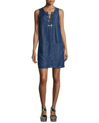 Splendid - Blue Lace-up Sleeveless Chambray Dress - Lyst