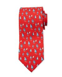 Ferragamo - Red Sailboat-print Silk Tie for Men - Lyst