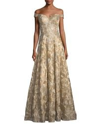 Jovani | Metallic Off-the-shoulder Sweetheart Lace Brocade Evening Gown | Lyst