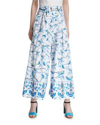 Peter Pilotto - White Bird-print Belted Palazzo Pants - Lyst