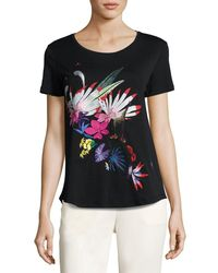 Etro | Black Floral-embroidered Scoop-neck Tee | Lyst